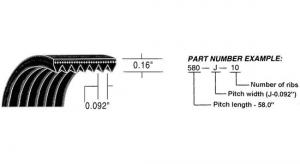 "Micro-Rib V-Belt 64.0"" 640J10"