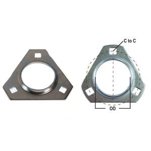 Flange Half Bearing 3 Bolt Triangular FTR340-I
