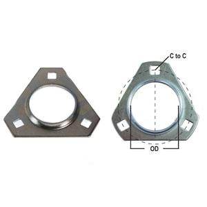 Flange Half Bearing 3 Bolt Triangular FTR372-I