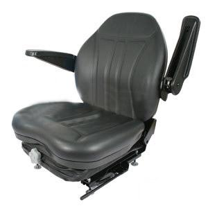High Back InduSteeringial Seat w/ Suspension Slide Track & Armrests Black Vinyl HIS360